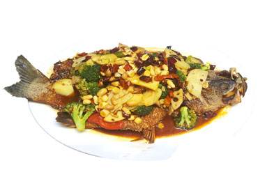 Stewed Whole Sea Bass with Scallion in Brown Sauce